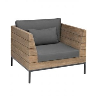 apple bee Lounge Sessel 96 LONG ISLAND Teak Antique/Gestell Aluminium anthrazit/BEE WETT Pavement