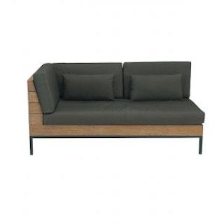 apple bee Lounge Sofa rechts 161 LONG ISLAND Teak Antique/Gestell Aluminium anthrazit/BEE WETT Pavement