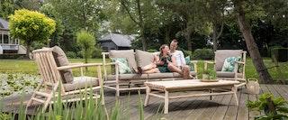 apple bee Loungesofa ROOTY Lounge 210 Gestell Teak / Polster Taupe