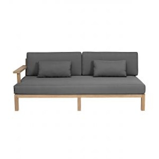 apple bee Loungesofa links XXL-Factor 190 Gestell in Teak antik / Kissen in BEE WETT Pavement