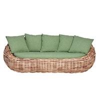 apple bee Lounge Sofa COCOON 236 Geflecht bicolor MOCCA / Bezug BEE WETT Green