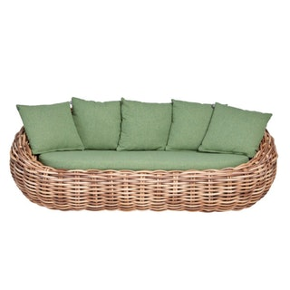 apple bee Lounge Sofa COCOON 236 Geflecht bicolor MOCCA / Bezug BEE WETT Green