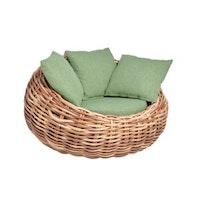 applebee Lounge Sessel COCOON 130 Geflecht bicolor MOCCA / Bezug BEE WETT Green