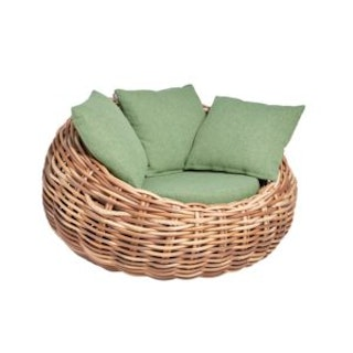 applebee Lounge Sessel COCOON 130 Geflecht bicolor MOCCA / Bezug BEE WETT Green