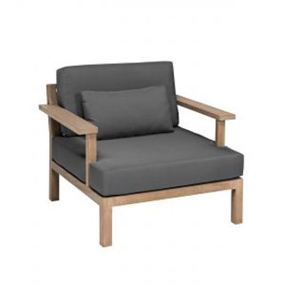 apple bee Loungesessel XXL-Factor 90 Gestell in Teak antik / Kissen in BEE WETT Pavement