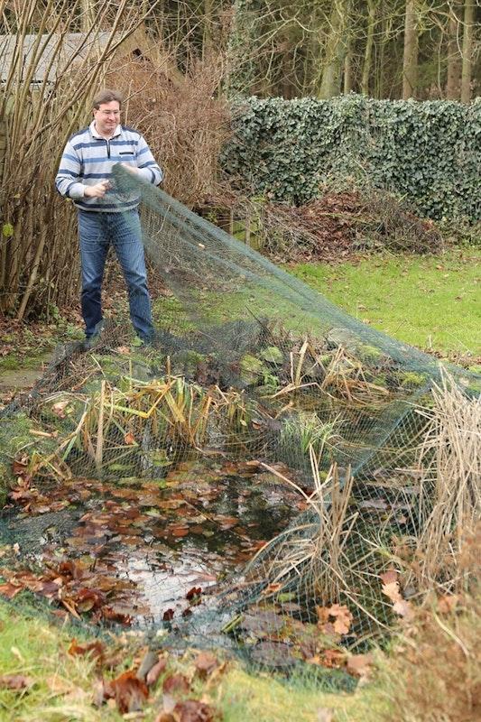 Das Teichnetz wird über den kompletten Teich gespannt und fängt Laub und kleine Ästchen ab.
