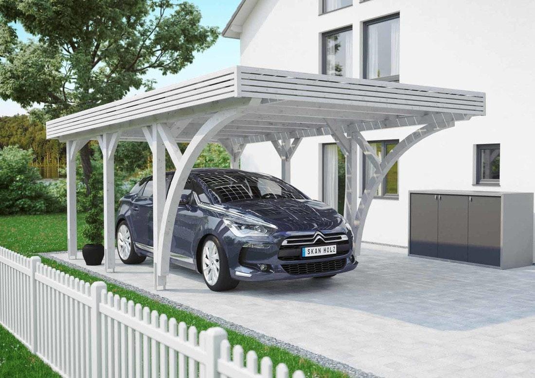 Skan Holz Solar Carport Einzel weiß