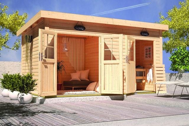 Ein großes Saunahaus mit einem Separaten Aufenthaltsraum oder einer Lounge bietet maximalen Comfort