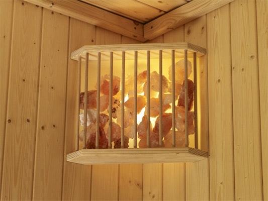 Praktische Lösung für die Ecke: Salzkristalllampe von Karibu | mein-saunashop.de