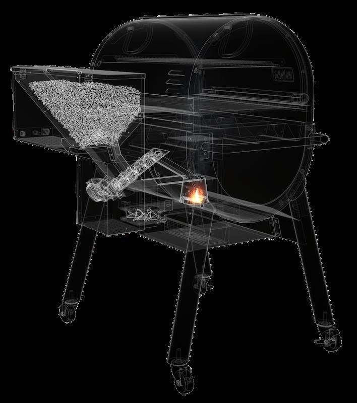 Die Pelletrutsche und Förderschnecke des Smoke Fire Pelletgrills sind ein einzigartiges funktionelles Design