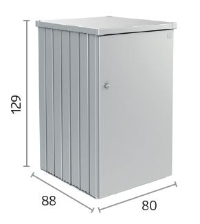 Die Mülltonnenbox Alex von Biohort misst B 80cm x T 88cm x H 129cm