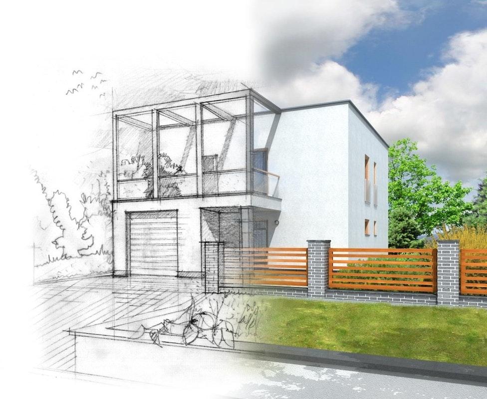 Entwurfsskizze Zaun und Gartengestaltung