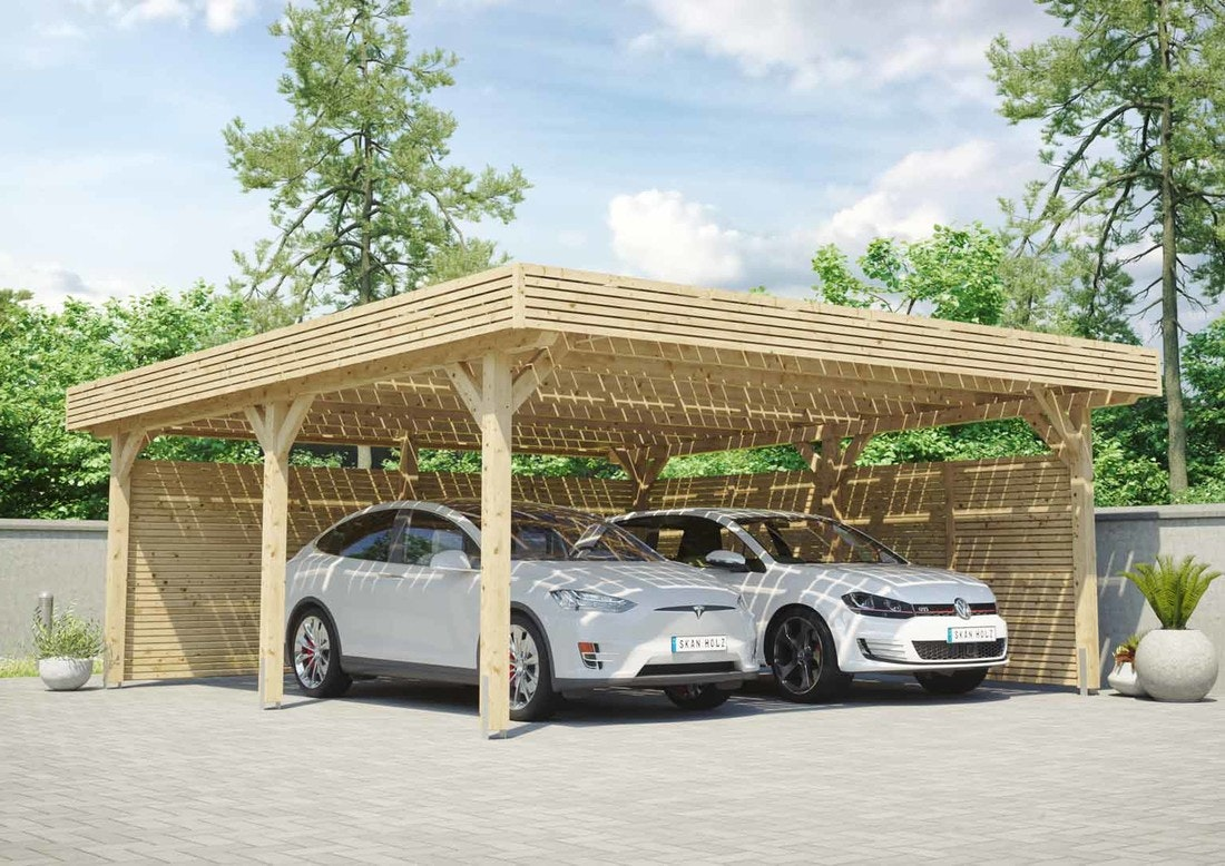 Skan Holz Solar Carport Doppel naturbelassen