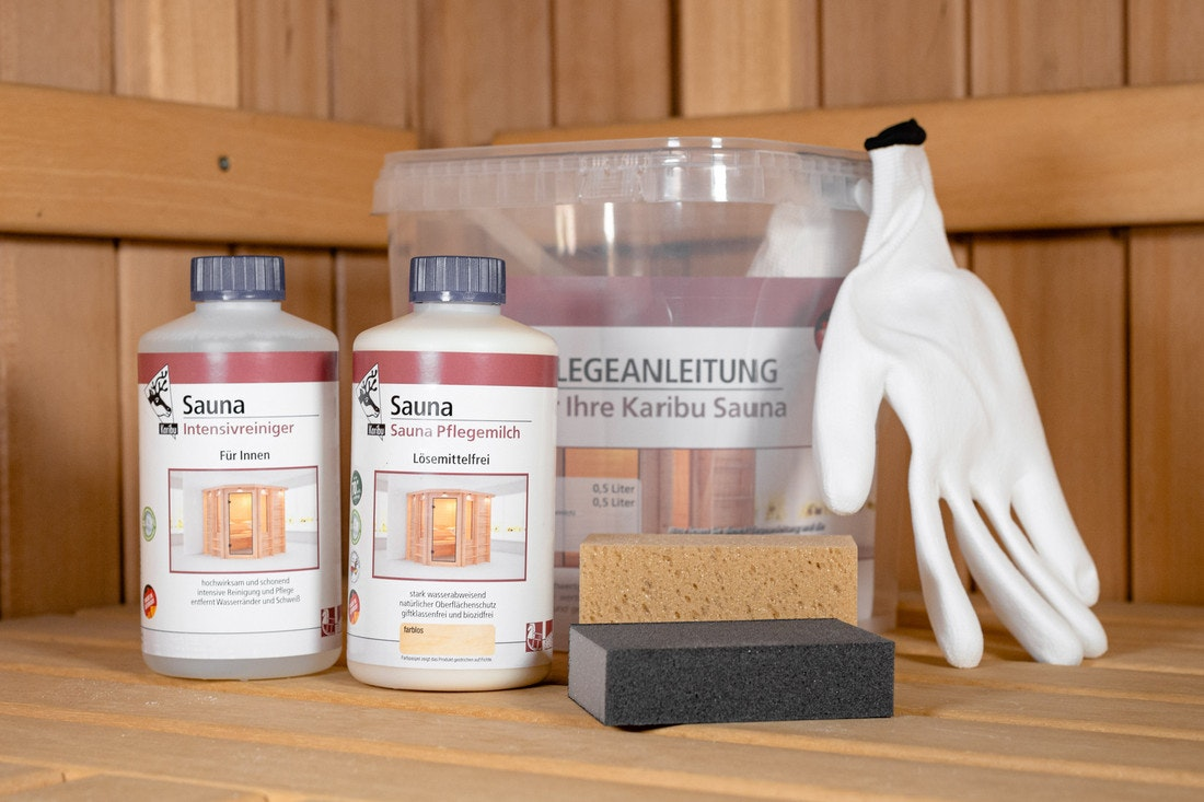 Karibu Saunapflegeset mit Intensivreiniger und Sauna Pflegemilch