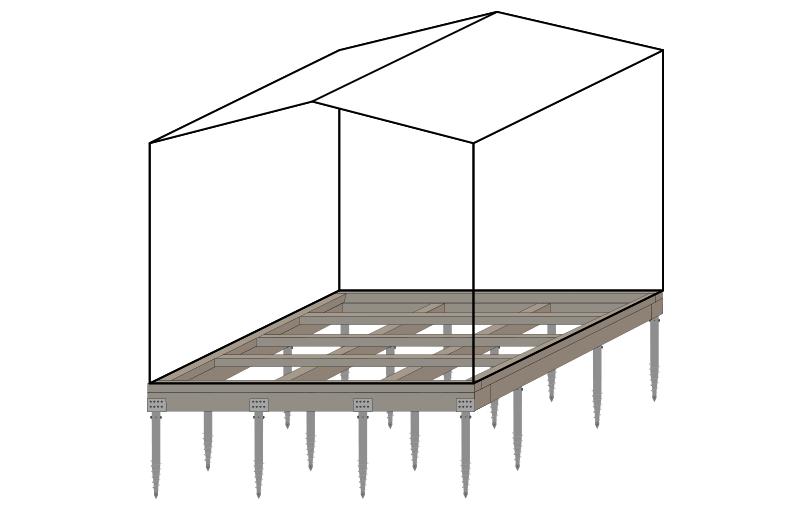 Skizze eines Schraubfundaments bei einem Gartenhaus
