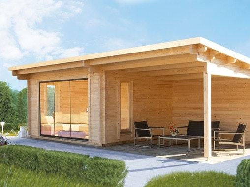 Für das Gartenhaus Trondheim von Wolff Finnhaus ist auch der Anbau eines Terrassendachs möglich