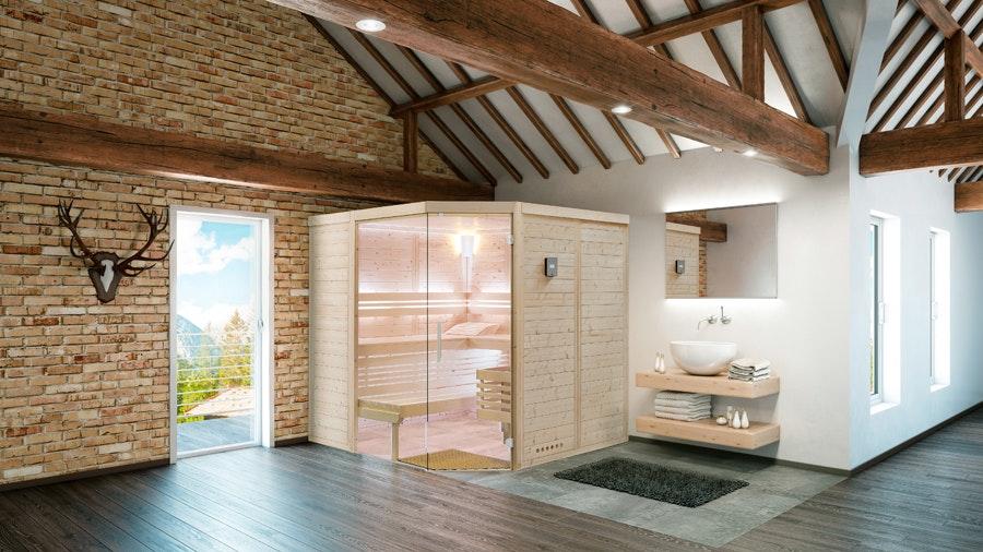 Die Sauna Urban von Infraworld ist eine elegante Innensauna für das Badezimmer