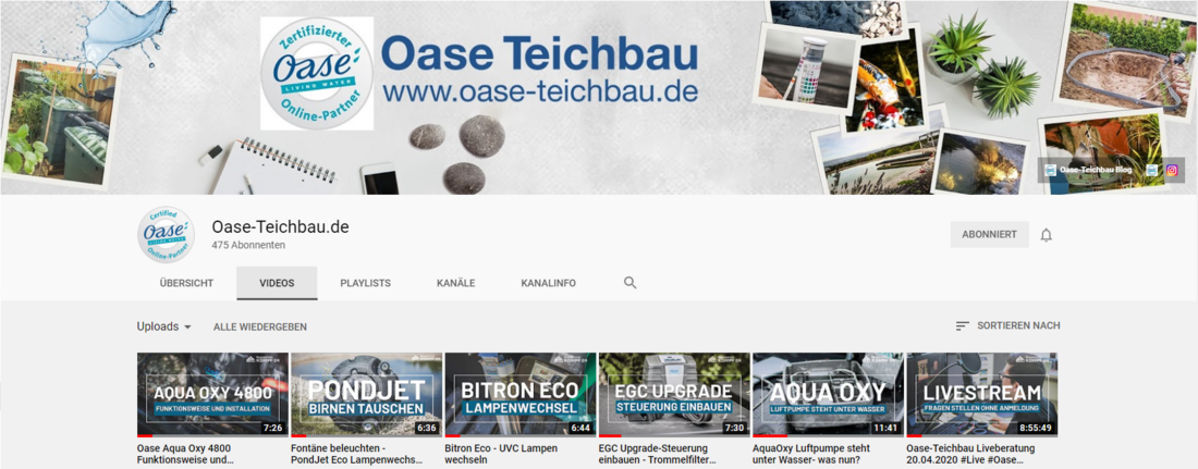 Youtubekanal von Oase Teichbau.de mit vielen informativen Videos rund um das anlegen und pflegen Ihres Gartenteichs mit Produkten von Oase