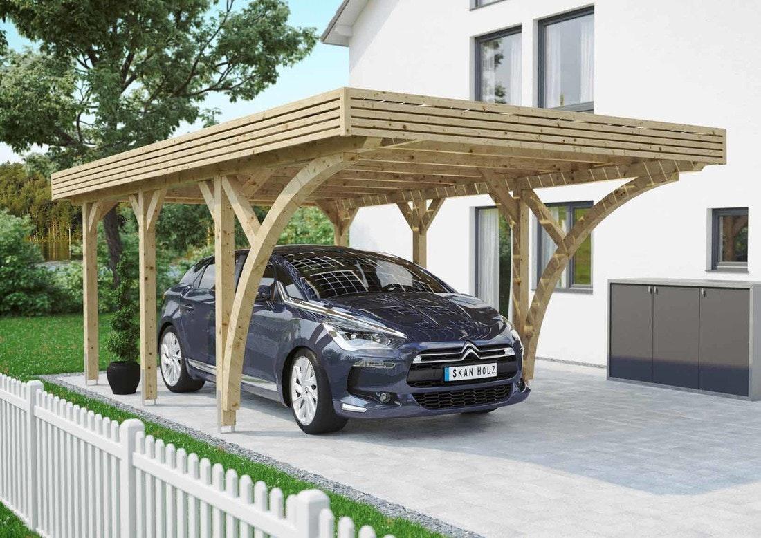 Skan Holz Solar Carport Einzel naturbelassen