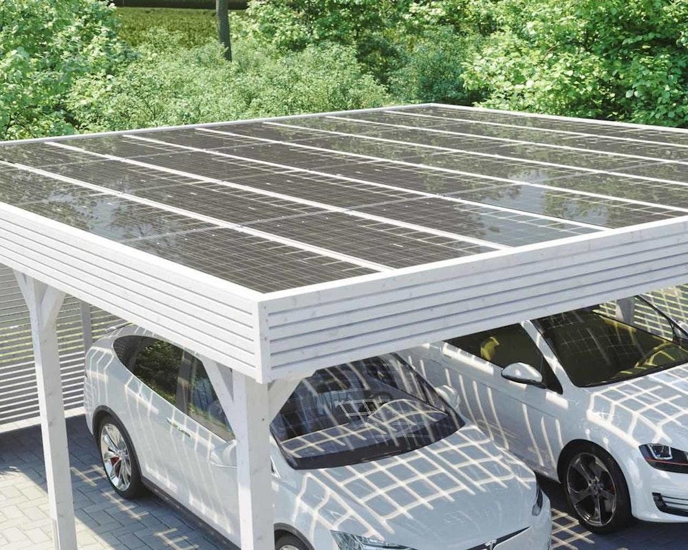 Solardach des Skanholz Doppelcarport