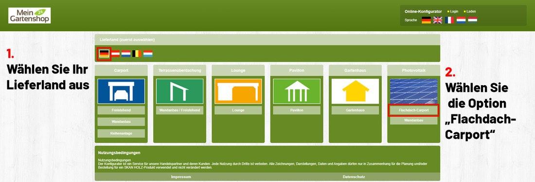 Skanholzkonfigurator, Lieferland und Bauweise auswählen