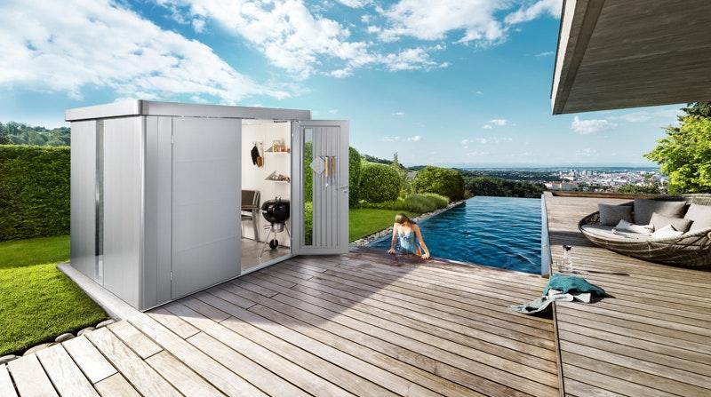 Das Gerätehaus Neo ist vielseitig einsetzbar, auch als Gartenhaus
