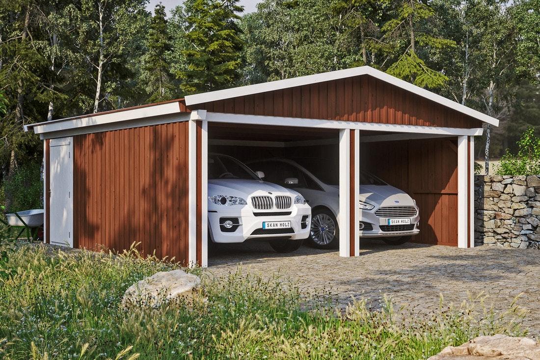 Das Holzgaragenmodell Falun von Skanholz bietet Rundumschutz für zwei Autos