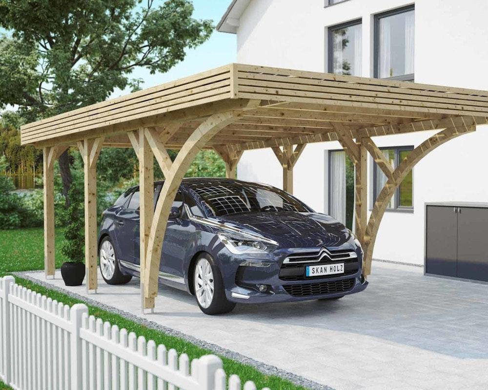 Skan Holz Solar-Carport naturbelassen, mit einem Stellplatz