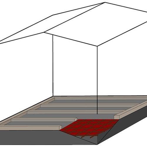 Betonfundament für ein Gartenhaus gießen