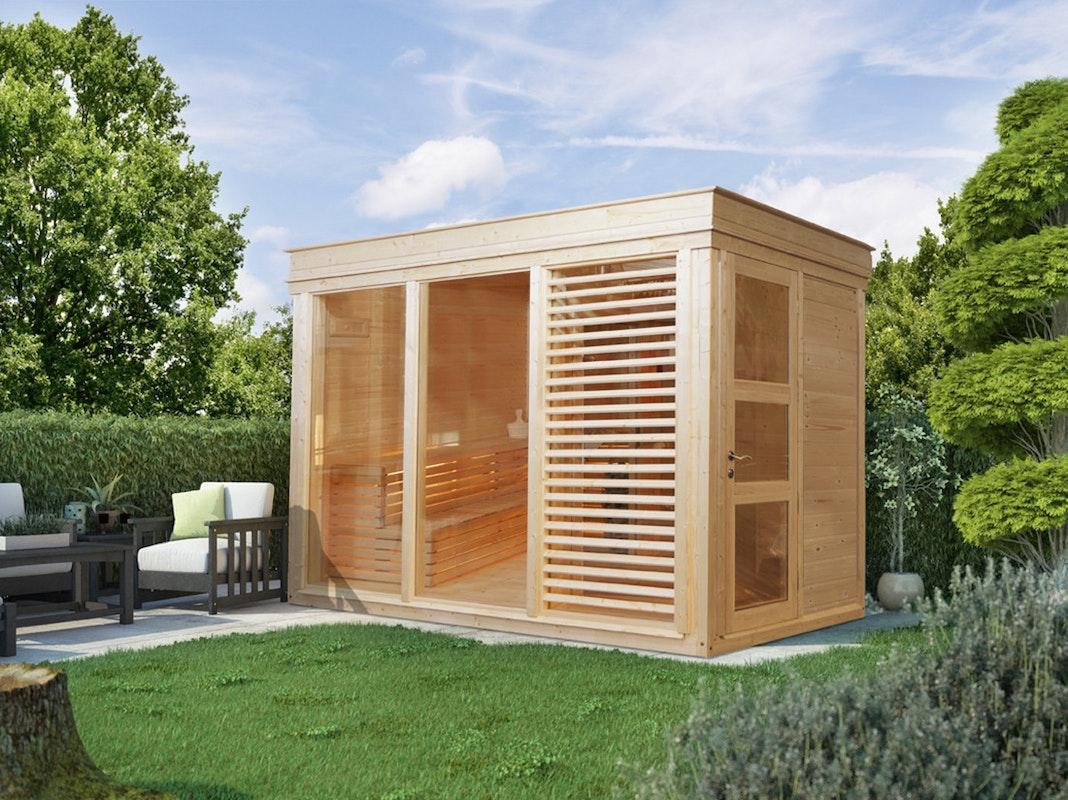 Eine Elementsauna für den Garten ist selten aber sehr flexibel und individuell