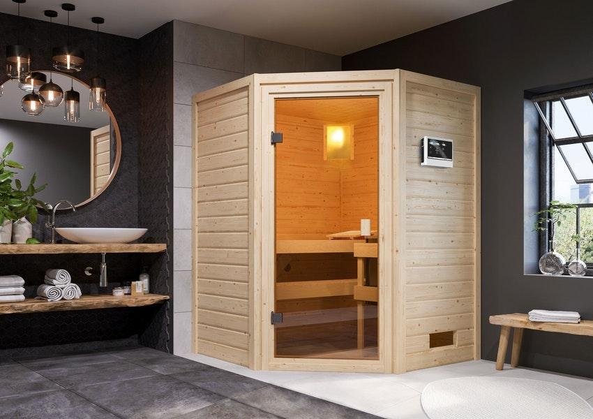 Moderner Stil: die Sauna im Badezimmer