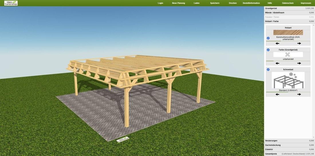 Carport und Terrassendach konfigurieren