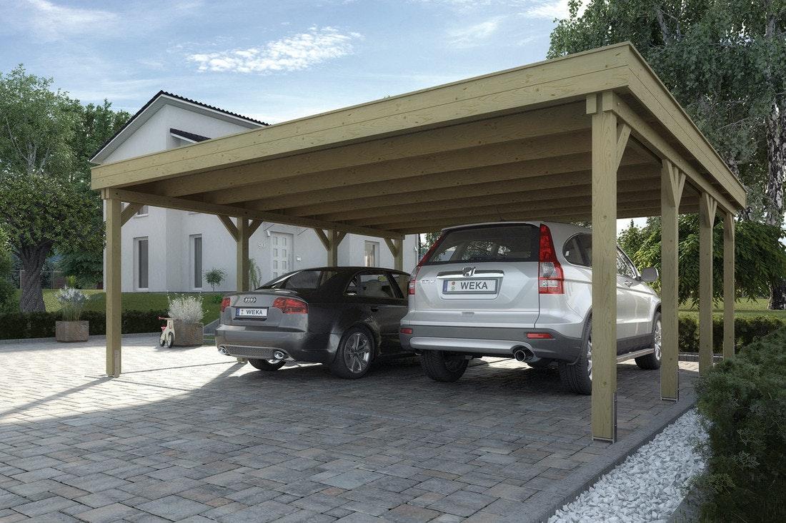 Der Weka Doppelcarport 609 ist aus Holz mit Trapezdachplatten aus Stahlblech