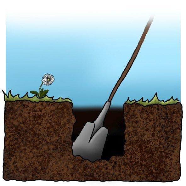 Pfostenlöcher ausgraben