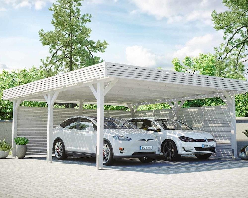 Skan Holz Solardachcarport in weiß mit zwei Stellplätzen