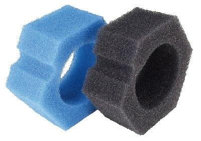 Das Ersatzschwamm-Set besteht aus zwei schwarzen und zwei blauen Schwämmen.