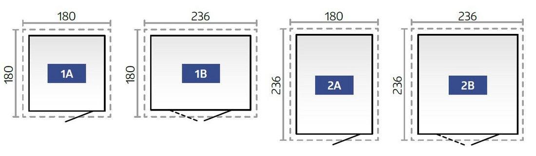 Skizze der vier verschiedenen Grundrisse des Gerätehauses Neo