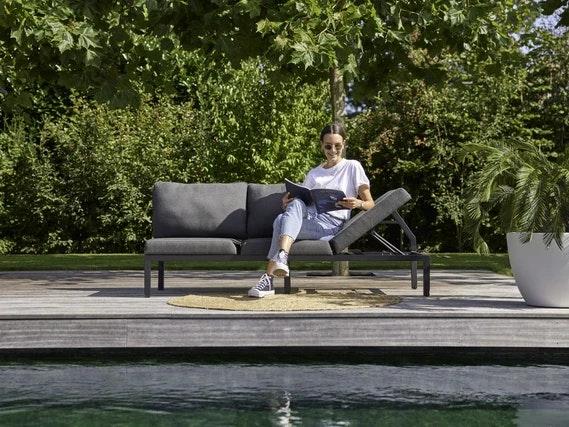 Hartman Dining Bench EVA Aluminium black / Sunbrella mid grey