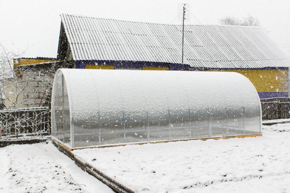 Das Gewächshaus schützt empfindliche Pflanzen vor Eis und Schnee