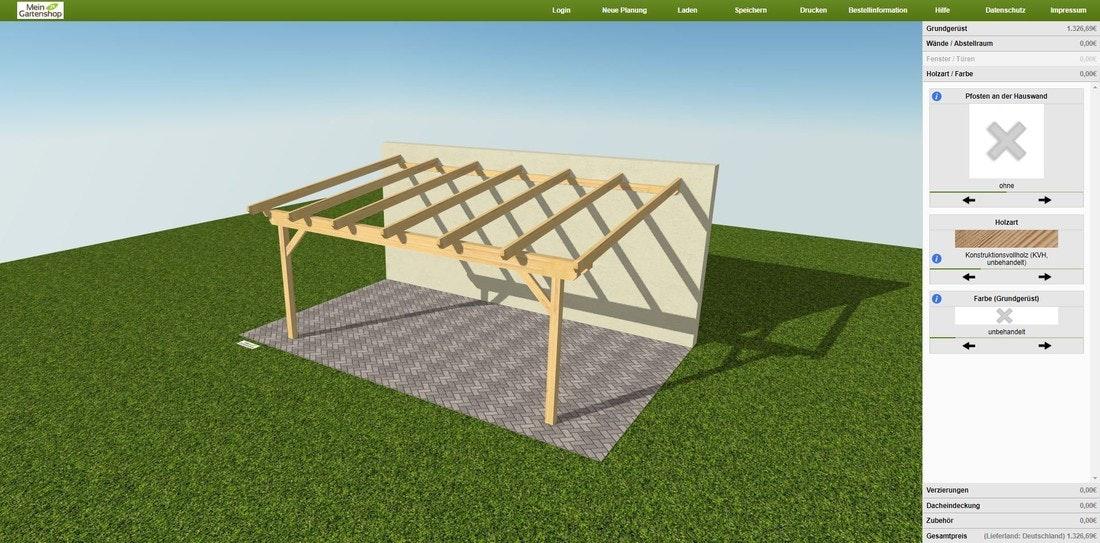Skanholz Konfigurator für individuelle Carports und Gartenhäuser