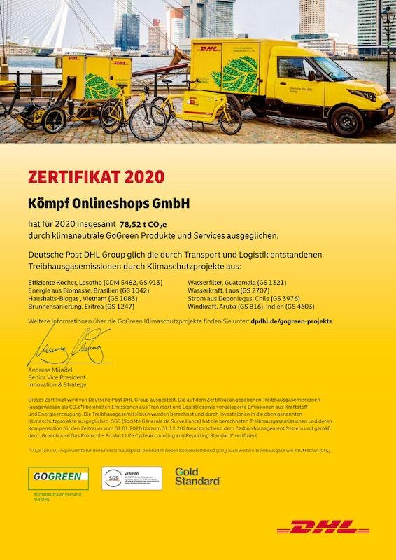 DHL GoGreen Zertifikat 2020