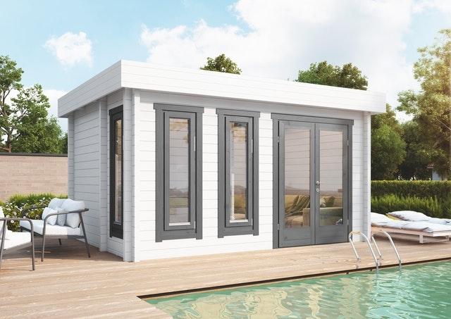 Ein großes Poolhaus ist die Luxusvariante einer Gartensauna
