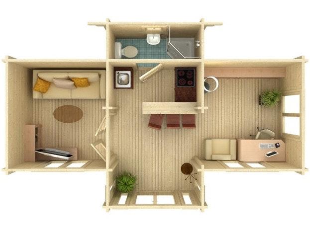 In einem großen Gartenhaus haben Sie Platz für mehrere Räume, z.B. ein kleines Bad