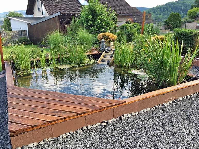 Teichspitze mit kleinem Steg