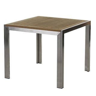 Diamond Garden Tisch SIENA 90 x 90 cm Edelstahl / Premium Teak