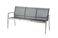 Diamond Garden 3-Sitzer Bank MONACO Edelstahl / Kunststoffgewebe schwarz / silber
