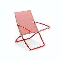 EMU Liegestuhl SNOOZE Stahl scharlachrot / Kunststoffgewebe rot
