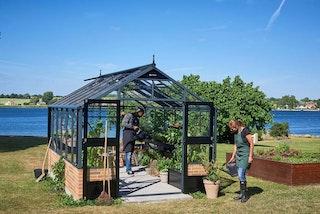 Juliana Gewächshaus Premium anthrazit - 3 mm Sicherheitsglas - für Mauer - 13,0 m²