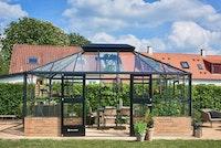 Juliana Gewächshaus Grand Oase anthrazit - 3 mm Sicherheitsglas - für Mauer - 18,8 m²