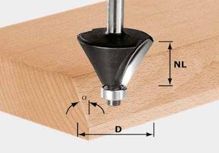 Festool Fasefräser HW Schaft 8 mm HW S8 D38,5/23/30°